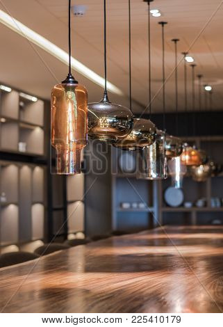 Vintage Lamp Lighting Hanging From Ceiling (soft Focus) For Luxurious Hotel And Restaurant Interior