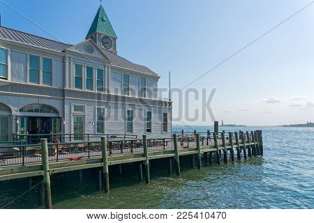 New York, Ny, Usa - June 06, 2015: Pier A Harbor House With Restaurant Situated On The Hudson River