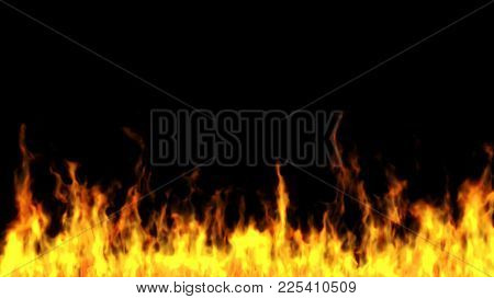 Flames On A Black Background. Computer Generated.