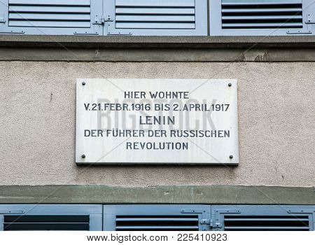 Zurich, Switzerland - June 04, 2016: The Plaque On The House Spiegelgasse 14 , Where Lenin Lived. Vl