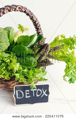 Detox Concept With Green Vegetables In A Basket: Spinach, Lettuce, Asparagus, Broccoli, Fennel And C
