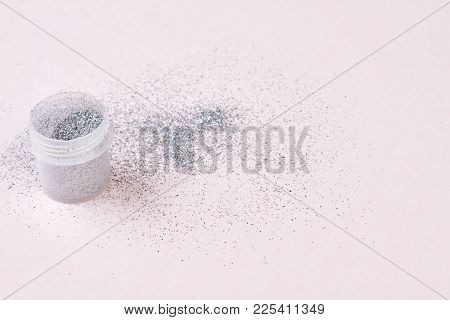 Silver Makeup Glitters On White Background. Silver Nail Glitters For Nail Design Isolated On White B