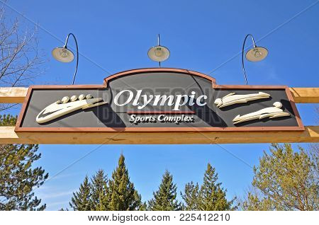 Lake Placid, Ny, Usa - Mar. 20, 2011: Olympic Sports Complex In Lake Placid Olympic Center, Lake Pla