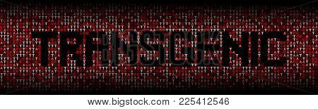 Transgenic text on DNA genetic code background illustration