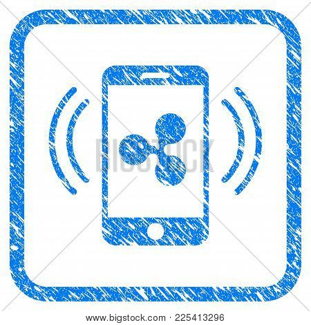 Ripple Mobile Control Rubber Seal Stamp Watermark. Icon Vector Symbol With Grunge Design And Unclean