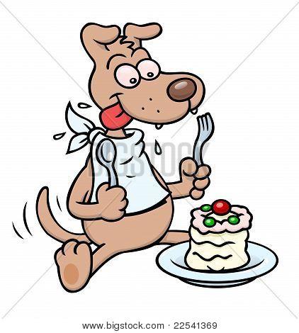 Dog with cake