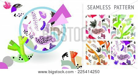 A Set Of Summer Seamless Unique Abstract Hand-drawn Patterns. Can Be Used For Embroidery, Print Or S