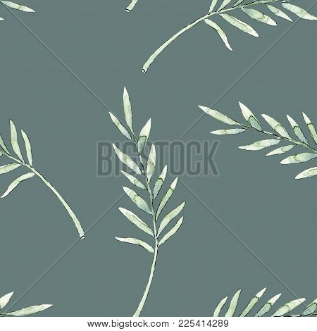 Hand Drawn Leaves Branches Watercolor Seamless Pattern Illustration On Dark Green Gray Background. W