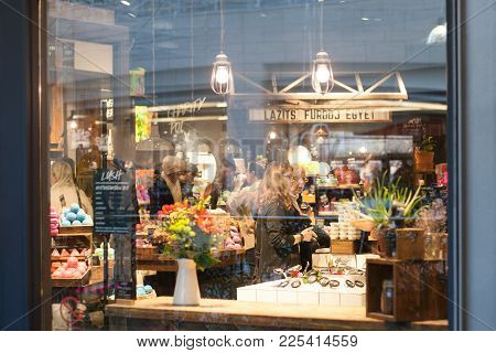 Budapest, Hungary - Dec 02, 2017: People Buy Cosmetics At Lush Store At A Shopping Mall. Lush Ltd. I