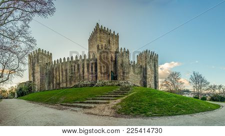 Guimaraes, Portugal - January 4, 2018 : End Of A Sunny Day In The Winter Next To The Castle Of Guima