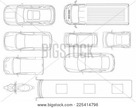 Set Of Cars Top View In Outline. Vector Set Of Outline Icons Cars. City Transport. View To The Top.