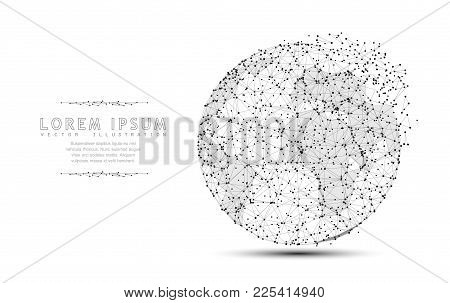 Globe. Polygonal Wireframe Mesh Icon With Crumbled Edge On White With Dots. Travel, Internet, Earth