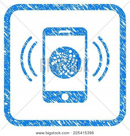 Iota Mobile Banking Rubber Seal Stamp Watermark. Icon Vector Symbol With Grunge Design And Unclean T