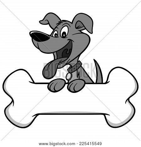 Dog With Bone Illustration - A Vector Cartoon Illustration Of A Dog With A Giant Bone.