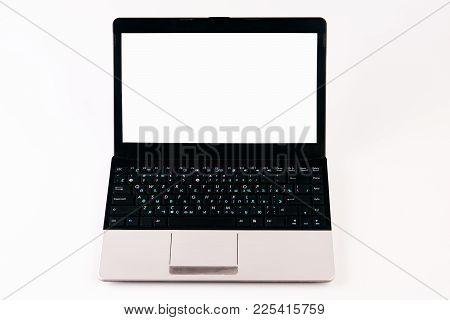 Laptop With Blank Screen Isolated On White Background, White Aluminium Body. Close-up Laptop Compute