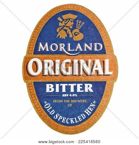 London, Uk - February 04, 2018: Morland Original Bitter Beermat Coaster Isolated On White Background