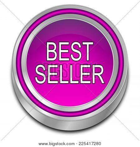 Decorative Purple Bestseller Button - 3d Illustration