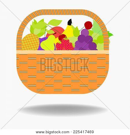 Fruit Basket Icon Apple, Orange, Bananas, Pear And Blueberry . Vector Illustration Of Basket Full Of