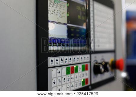 Control Panel Of A Cnc Lathe Machine. Selective Focus.