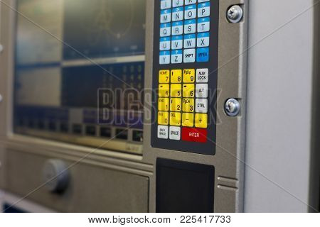 Control Panel Of A Computer Controlled Industrial Equipment. Selective Focus.