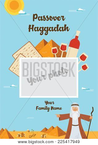 Passover Haggadah Design Template. The Story Of Jews Exodus From Egypt. Traditional Icons And Desert