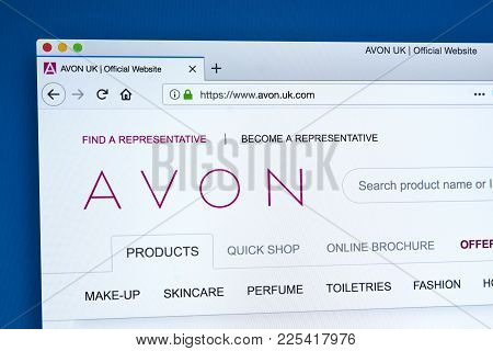 London, Uk - January 10th 2018: The Homepage Of The Official Website For Avon Products Inc - The Dir