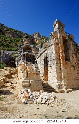 The Ruins In Amphitheater At Myra, Turkey
