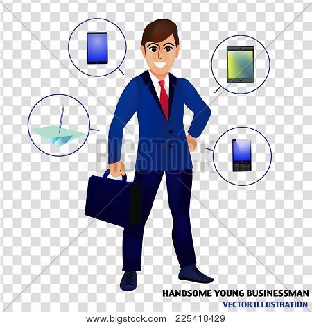 Businessman Isolated Illustration. Character Design Of Businessman. Businessman With Tools For Busin