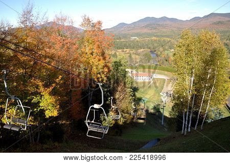 Adirondack Mountains In Fall, View From The Ski Jump Observation Deck In Lake Placid, Adirondack Mou