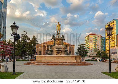 Batumi Georgia 11 July 2017: Neptune Monument Near Ilya Chavchavadze State Drama Theatre In Batumi,