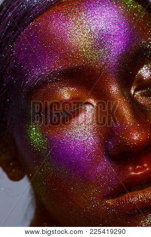 Body Art. Conceptual Make-up. Gold Orange Purple Skin Beauty Girl. Close-up Fashion Portrait Of Woma
