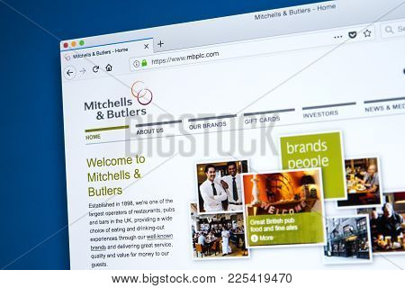 London, Uk - January 10th 2018: The Homepage Of The Official Website For Mitchells And Butlers Plc -