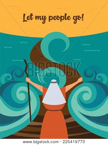 Moses Splitting The Red Sea And Ordering Let My People Go Out Of Egypt. Story Of Jewish Holiday Pass