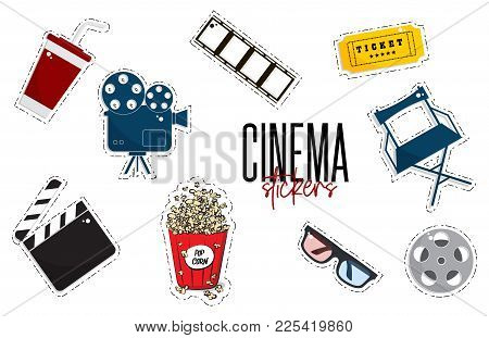 Vector Flat Cinema Stickers Movie, Camers, Tickets, Popcorn, Glasses, Chair, Filmstrip. Tv Symbol Il