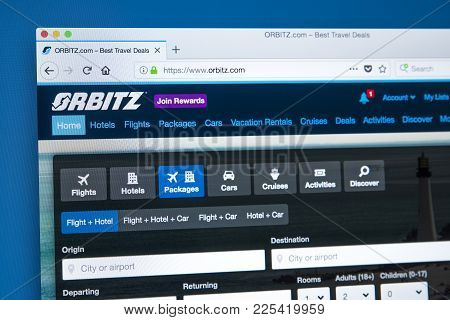 London, Uk - January 10th 2018: The Homepage Of The Official Website For Orbitz - The Travel And Hol