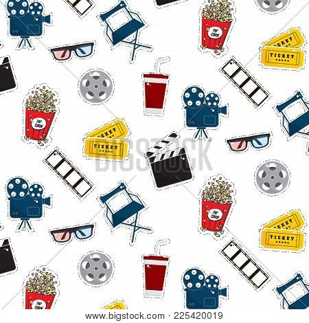 Vector Flat Cinema Stickers Pattern Movie, Camers, Tickets, Popcorn, Glasses, Chair, Filmstrip. Tv S