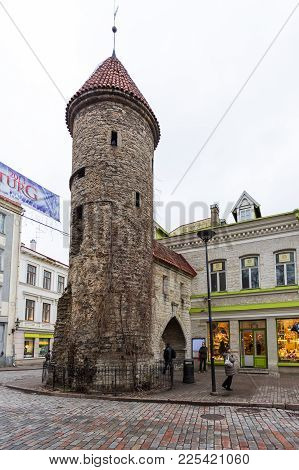 Historical Buildings Of The Downtown In Tallinn.