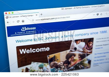 London, Uk - January 10th 2018: The Homepage Of The Official Website For S. C. Johnson & Son - The A