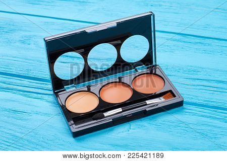 Lipstick And Lipgloss Palette. Nude Colors Lipstick Palette On Blue Wooden Background. Make Up Fashi