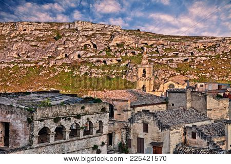 Matera, Basilicata, Italy: Landscape At Sunset Of The Picturesque Old Town Called Stones Of Matera W