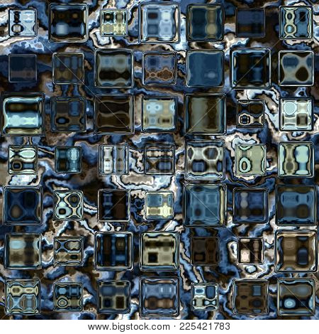 Blue Colored Abstract Cubic Crystal Block Render Image Texture
