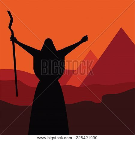 Mozes Ordering Let My People Go Out Of Egypt. Story Of Jewish Holiday Passover. Vector Illustration