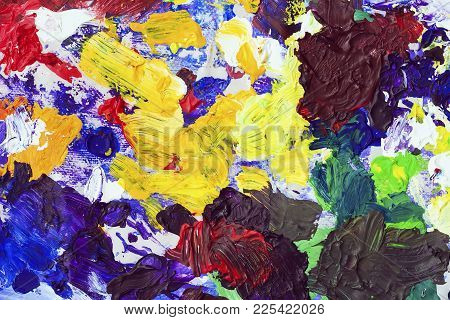 Multicolored Bright Spots Of Colors On My Dirty Palette, Texture For A Modern Creative Background