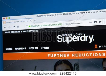 London, Uk - January 8th 2018: The Homepage Of The Official Website For Superdry - Owned By Supergro