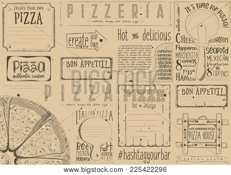 Pizzeria Placemat - Paper Napkin For Pizza House With Place For Text In Retro Style. Big Pizza On Cr
