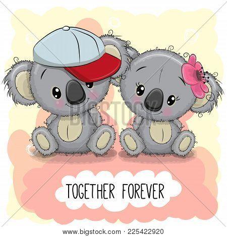 Valentines Card With Cute Cartoon Koalas Boy And Girl