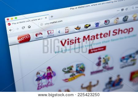 London, Uk - January 8th 2018: The Homepage Of The Official Website For Mattel - The American Toy Ma