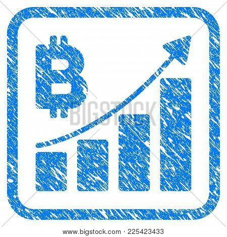 Bitcoin Growth Trend Rubber Seal Stamp Imitation. Icon Vector Symbol With Grunge Design And Dirty Te