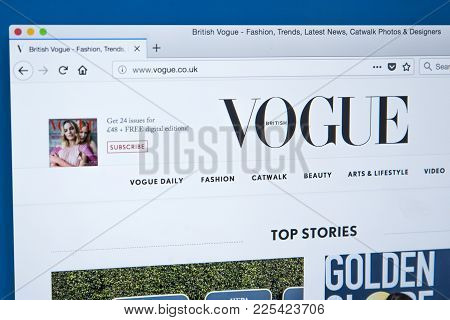 London, Uk - January 8th 2018: The Homepage Of The Official Website For Vogue Uk - The Fashion Magaz