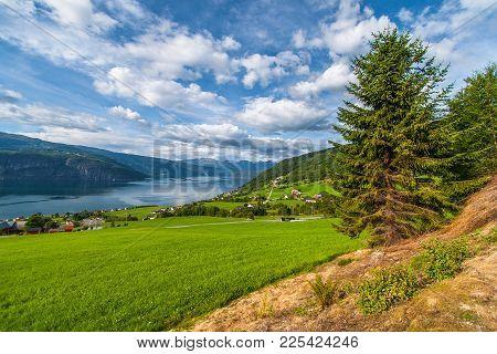 Norwegian Summer Landscape. Fjord Innvikfjorden And Village Utvik In The Background.